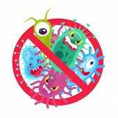Antibacterial Symbol. Virus Infection And Microbes Bacterias Control, Humor Cartoon Protection Sign  poster