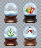 Glass Snow Ball. Crystallizing Magical Christmas Toy Snowglobe Vector Realistic Template. Ball Chris poster