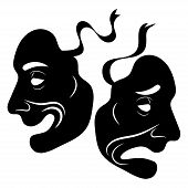 Theatre Masks. Drama And Comedy. Illustration For The Theater. Tragedy And Comedy Mask. Black White  poster