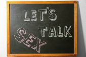 Small Blackboard With Written Phrase lets Talk Sex. School Education poster