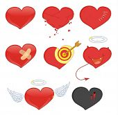 Illustrated set of heart objects