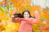 Simple Happiness. Kid Enjoy Autumn Outdoors. Meet Autumn. Little Girl Smiling Happy Cute Child Gorge poster