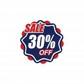 30% Sale Tag Vector Badge Template, 50% Sale Label Collection, Clearance Sale Sticker Emblem, Bargai poster
