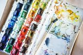 Artist Paint Brushes And Watercolor Plastic Palette. Instruments And Tools For Creative Leisure. Cre poster