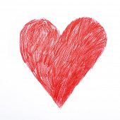 Heart. Red heart sigh rough childish pencil drawing. Love, declaration of love, health care, healthy poster