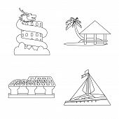 Isolated Object Of Landmark And Culture Icon. Set Of Landmark And Tourism Vector Icon For Stock. poster