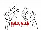 Cartoon Monochrome Zombie Hand For Flyer Party Design. Happy Halloween Outline Arm. Happy Halloween. poster