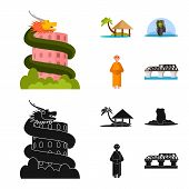 Vector Illustration Of Journey And Exotic Logo. Set Of Journey And National Stock Symbol For Web. poster