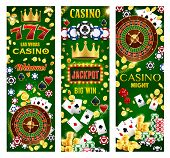 Casino Gambling Games, Wheel Of Fortune And Poker Cards, Lucky Seven Jackpot, Roulette, Dice And Tok poster