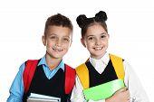 Happy Children In School Uniform On White Background poster
