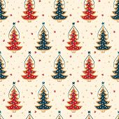 Seamless Pattern. Hand Drawn Snow Christmas Tree. Star Fir Forest Snowflakes Background. Traditional poster