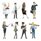 Set Of Professions. Collection Of Cartoon Professions. Vector Illustration For Kids. poster