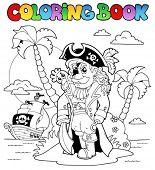 Livro de colorir com tema de pirata 9 - ilustração do vetor.
