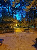 Tranquil Park At Evening At Blue Hour In Komarom, Hungary poster