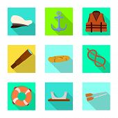 Vector Design Of Journey And Seafaring Sign. Set Of Journey And Vintage Vector Icon For Stock. poster