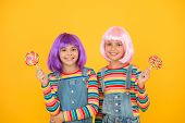 Sweet Life. Anime Cosplay Party Concept. Happy Little Girls. Anime Fan. Kids With Artificial Hairsty poster