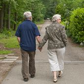 stock photo of old couple  - outside portrait of an elderly couple walking along a forest road - JPG