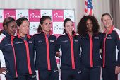 KHARKIV, UKRAINE - APRIL 19: US Fed Cup team before Tie between USA and Ukraine in Superior Golf & S