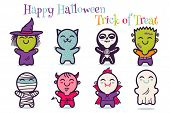 Vector Set Illustrationn Of Children In Costumes For Halloween. Illustrations With Cute Kids In Hall poster