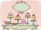 Old-fashioned table is set with different cakes. All objects are grouped and separated to layers