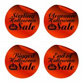Red Halloween Sale Stickers Sizzling, Clearance, Biggest, End Of. Vector Illustration poster