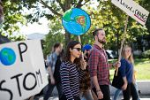 People With Placards And Posters On Global Strike For Climate Change. poster