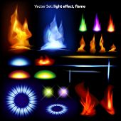 Vector set: light effect, flame - lots of  graphic elements to embellish your layout