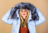 Cheerful Winter Girl. Girl In Puffed Coat. Faux Fur Fashion. Woman In Padded Warm Coat. Beauty In Wi poster