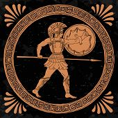 Ancient Greek Warrior With A Spear And Shield In His Hands Is Ready To Attack. poster