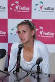 KHARKOV, UKRAINE - APRIL 22: Lesia Tsurenko talks to press after her second match during Fed Cup tie between USA and Ukraine in Superior Golf and Spa Resort, Kharkov, Ukraine at April 22, 2012