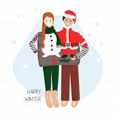 Vector Illustration Of Couple In One Ugly Sweater Together For Christmas And New Year Party.  Templa poster