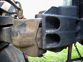 picture of boxcar  - Vintage boxcar iron coupler with buffer and chain - JPG