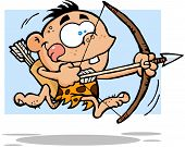Cave Boy Running With Bow And Arrow