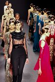 NEW YORK - FEBRUARY 12: Model walks the runway for the Naeem Khan  collections Mercedes-Benz Fashion