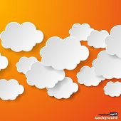 Abstract speech bubbles in the shape of clouds used in a social networks on orange background. Vector eps10 illustration