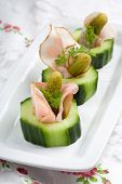 picture of crudites  - Delicious and healthy snack with cucumber ham and gherkin - JPG