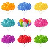 Balloons bunches, set