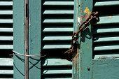 Venetian Blind And A Rusty Chain In La Boca
