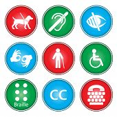 stock photo of braille  - A vector illustration of accessibility icon sets - JPG