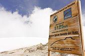 Glacier Volcano Nevado Del Ruiz Signboard. Los Nevados Parque Nacional Natural.