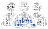 stock photo of recruitment  - Talent management concept in word tag cloud on white background - JPG