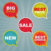 Colorful Sale Stickers And Labels With Gradient Mesh, Vector Illustration