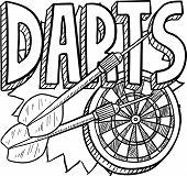 stock photo of fletching  - Doodle style darts sports illustration - JPG