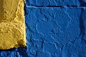 Colored Wall Yellow And Blue In La Boca