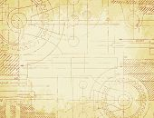 stock photo of mechanical drawing  - Grungy old technical blueprint illustration on faded paper background - JPG