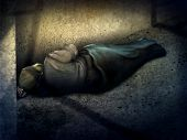 stock photo of hobo  - digital painting of a homeless man asleep on the ground in a dark alley - JPG