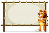Illustration of a tiger standing beside a wooden frame on a white background