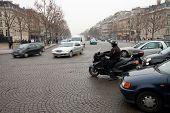 Speeding Traffic On Paris Roundabout