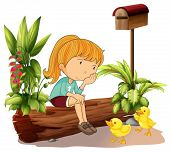 Illustration of a sad girl and the two ducklings on a white background