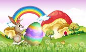 picture of chocolate hills  - Illustration of a bunny pushing an easter egg - JPG